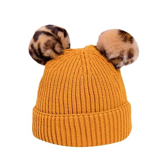 Gorro de Punto BBsmile Color sólido Sombrero Niños pequeños Niña niño bebe  Invierno cálido Bola de pelo de leopardo de punto sombrero Niños de 6-36  meses  ... 945ca230216