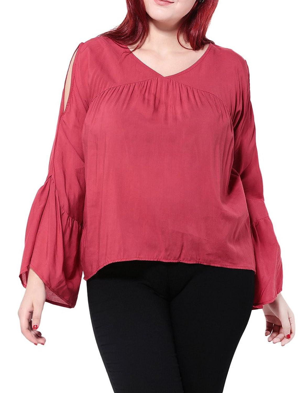 Woo2u Women Plus Size Mandarin Sleeve Loose Summer Beach Casual Top