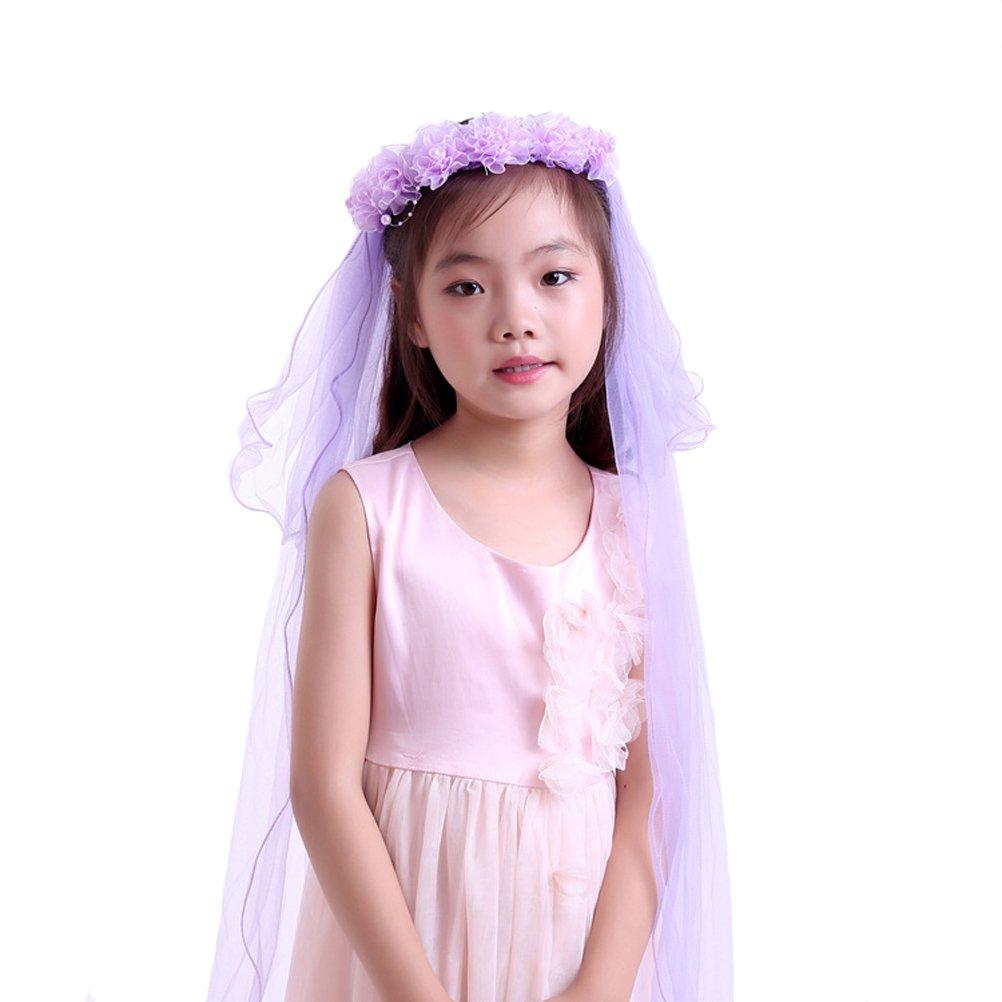 Eliffete Wedding Veils for Flower Girls Purple Headband Wreath ...