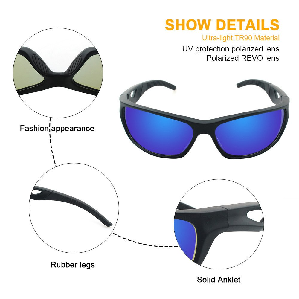 Polarized Sunglasses Anti Glare Driving Wrap Around Driving Square Frame Motorcycle Block Comfortable Durable Construction Outdoor Sports Eyewear UV blue by ZHIYIJIA (Image #4)