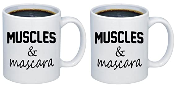 Amazon.com | P&B Muscles and Mascara for Gifts Ceramic Coffee Mugs M167 (11 oz.): Coffee Cups & Mugs