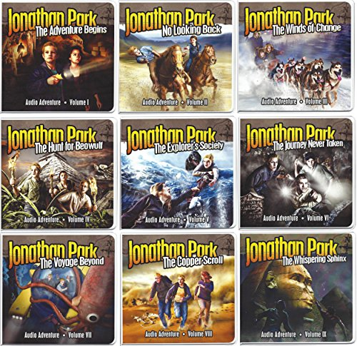 Sphinx Scrolls - Jonathan Park Set of 9 Audio Adventures including The Adventure Begins, No Looking Back, The Winds of Change, The Hunt for Beowulf, The Explorer's Society, The Journey Never Taken, The Voyage Beyond, The Copper Scroll, and The Whispering Sphinx