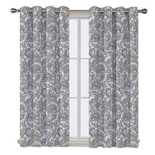 - SATVSHOP Textured Blackout Curtains - 120W x 108L Inch- Floral Traditional Damask with Classic Ethnic Effects Artful Ornate Pattern EDA Green White.