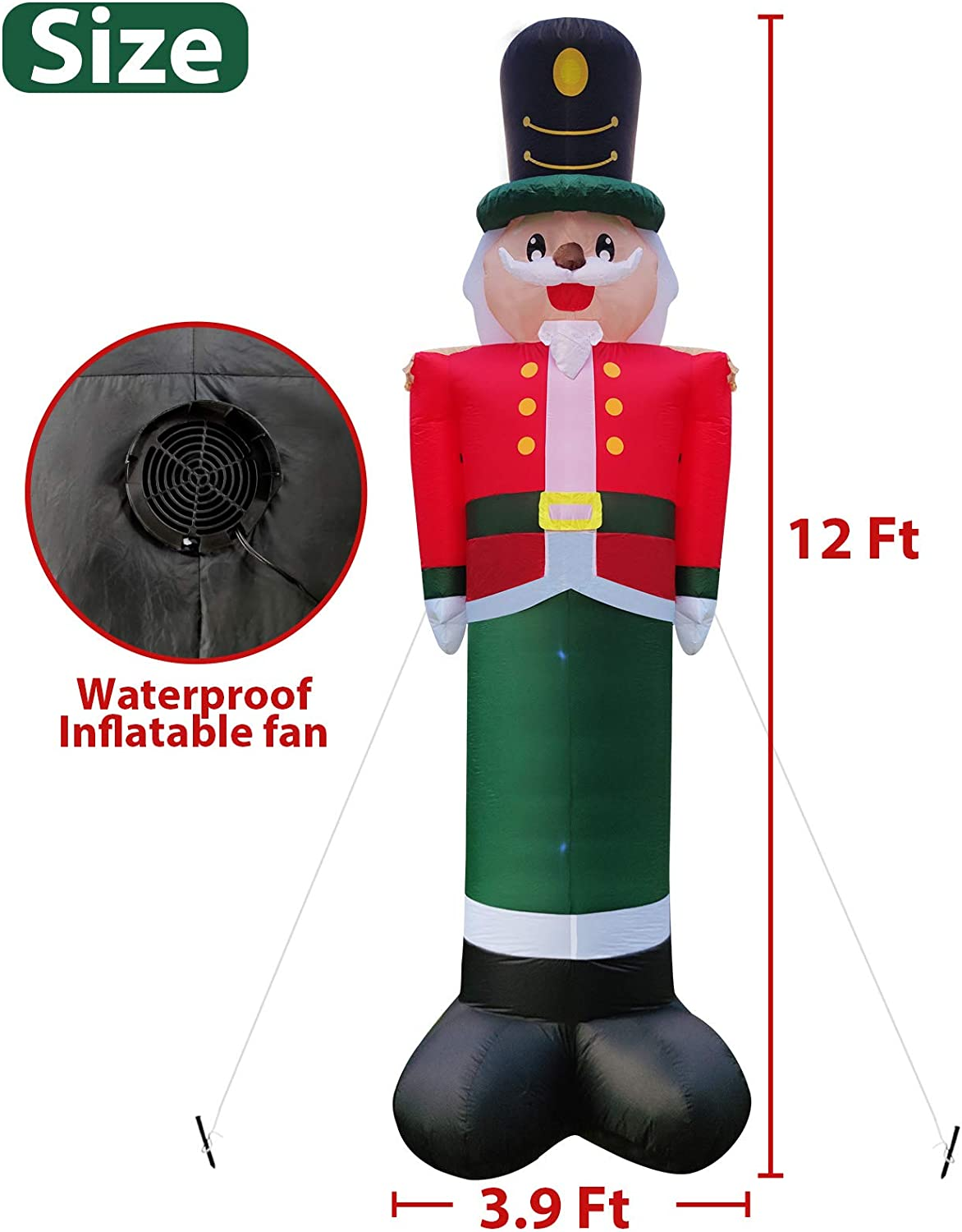 Camlinbo 12 Feet Giant Christmas Inflatables Nutcrackers Decoration with LED Lights 6 Stakes 4 Tethers Christmas Blow Up Outdoor Yard Garden Lawn Xmas Party Decor