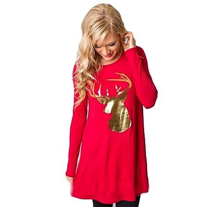 20ade25f3467c4 Jupe de noël,Femmes Fashion Stripe Dress col rond manches élan de Noël  manches longues