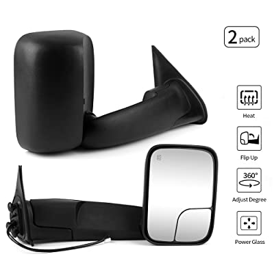 Towing Mirror Compatible With 2005-2015 Toyota Tacoma | Side View Tow Mirrors Power Heated Left Right 2PC by IKON MOTORSPORTS | 2006 2007 2008 2009 2010 2011 2012 2013 2014: Automotive