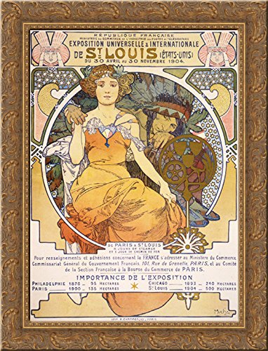 Art nouveau color lithograph poster showing a seated woman clasping the hand of a Native American 20x24 Gold Ornate Wood Framed Canvas Art by Mucha, Alphonse