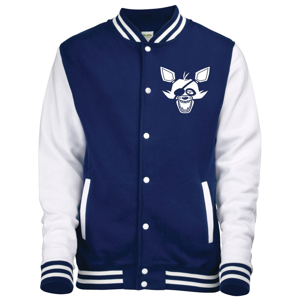 AWDis Five Nights AT Freddy's Foxy Face Varsity Jacket Unisex Various Sizes American Baseball Letterman