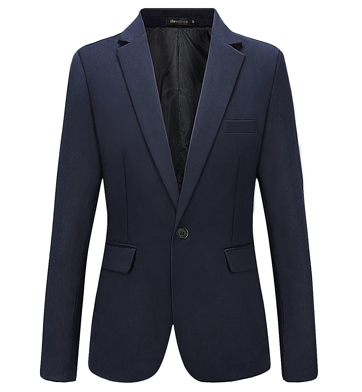 Mens Casual Slim Fit One Button Blazer Suit Jacket