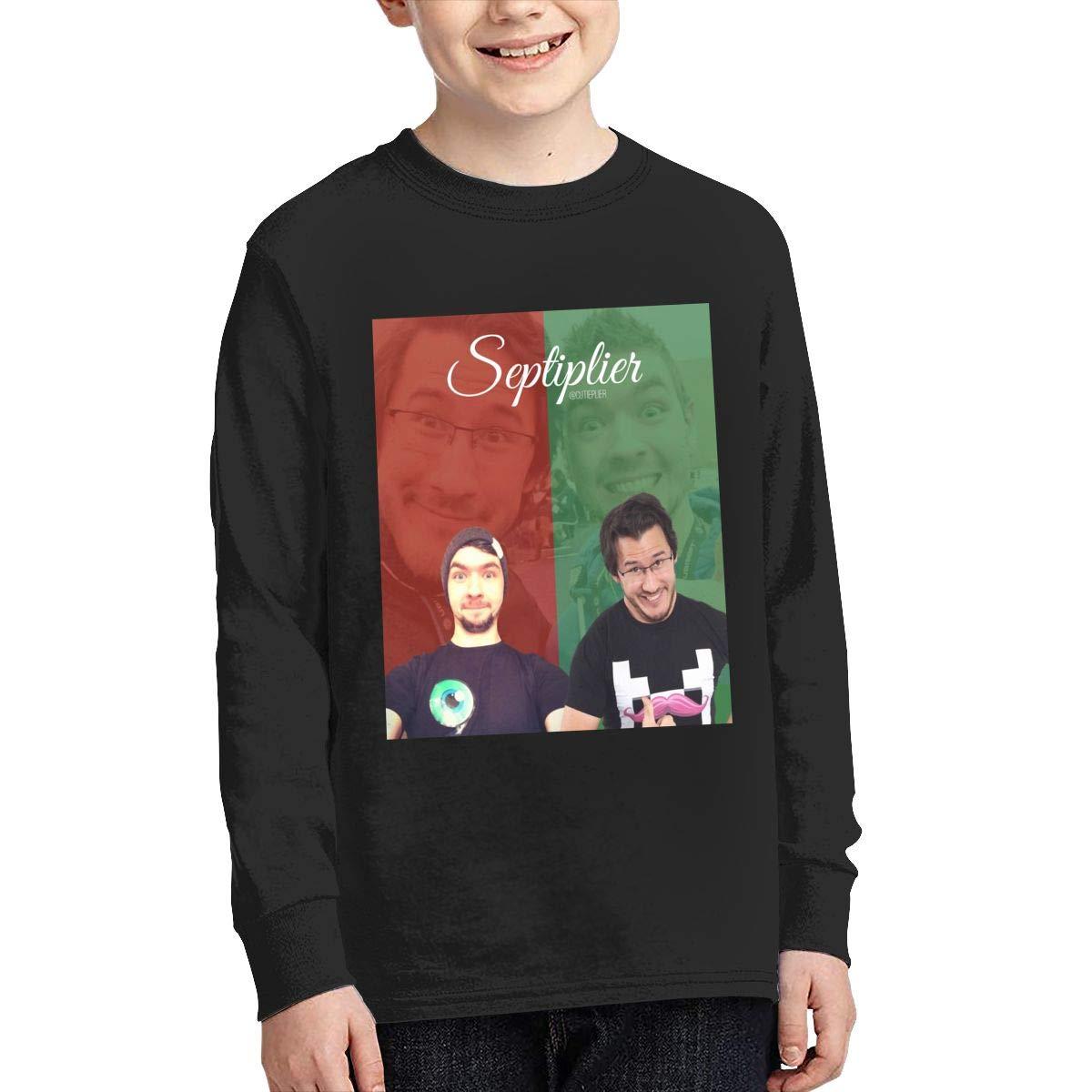 RhteGui Pewdiepie Vs Markiplier Vs Jacksepticeye Boys /& Girls Junior Vintage Long Sleeve T-Shirt Black