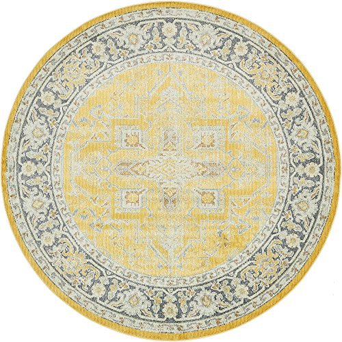 (Unique Loom Baracoa Collection Bright Tones Vintage Traditional Yellow Round Rug (8' 4 x 8' 4))