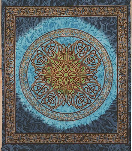 (Handmade 100% Cotton Celtic Circle Wheel Of Life Batik Print Spread Tapestry Queen Blue)