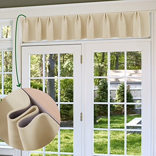"NICETOWN Curtain Valance Drape - Adjustable Thermal Insulated Blackout Curtain Panel, Can Be A Variety of Styles, 100""W x 20""L, Cream Beige, 1 - Window Adjustable Valance"