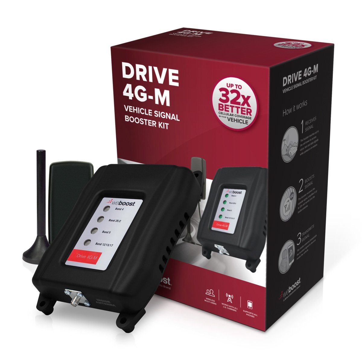 weBoost Drive 4G-M (470121) Cell Phone Signal Booster for Your Car & Truck - Verizon, AT&T, T-Mobile, Sprint - Enhance Your Cell Phone Signal up to 32x by weBoost