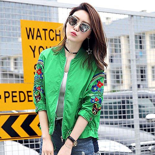 QFFL fangshaifu ファッションショートスリーブバットシャツ日保護服/薄い夏の刺繍コート/女性ビーチサンスクリーンカーディガン/通気性ショール(4色使用可能) (色 : 緑, サイズ さいず : M)