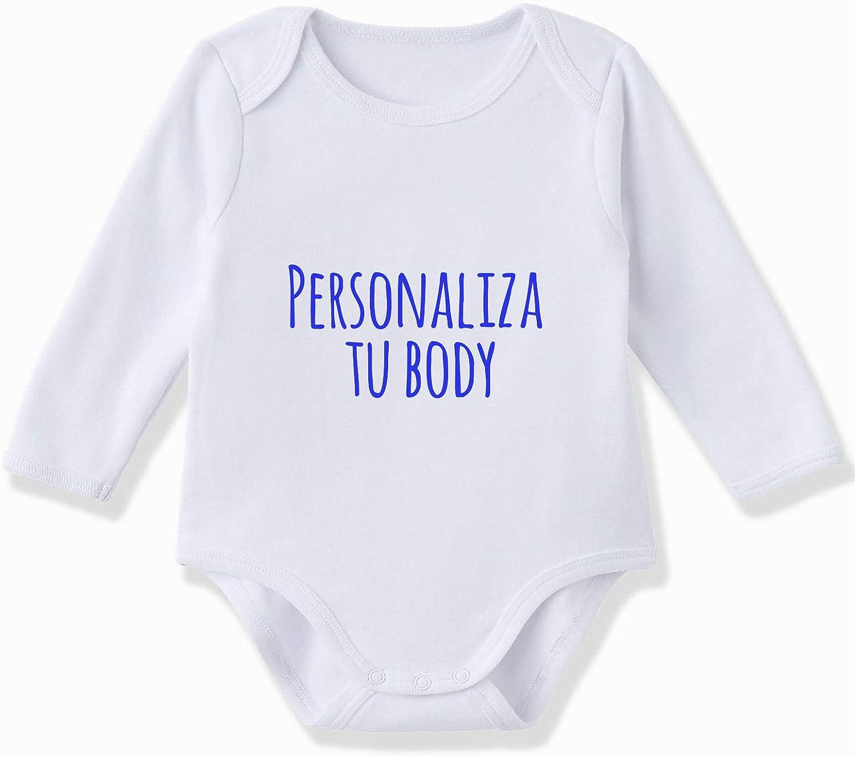 Body bebé personalizado manga larga 100% algodón de color Blanco ...
