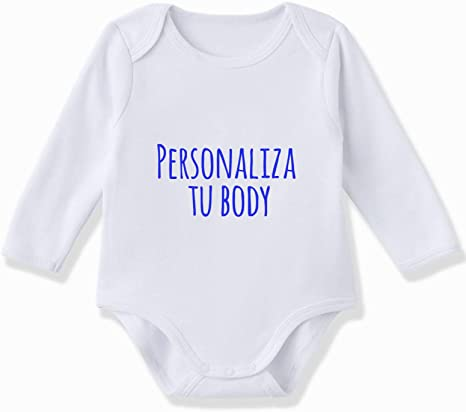 Body bebé personalizado manga larga 100% algodón de color Blanco ...