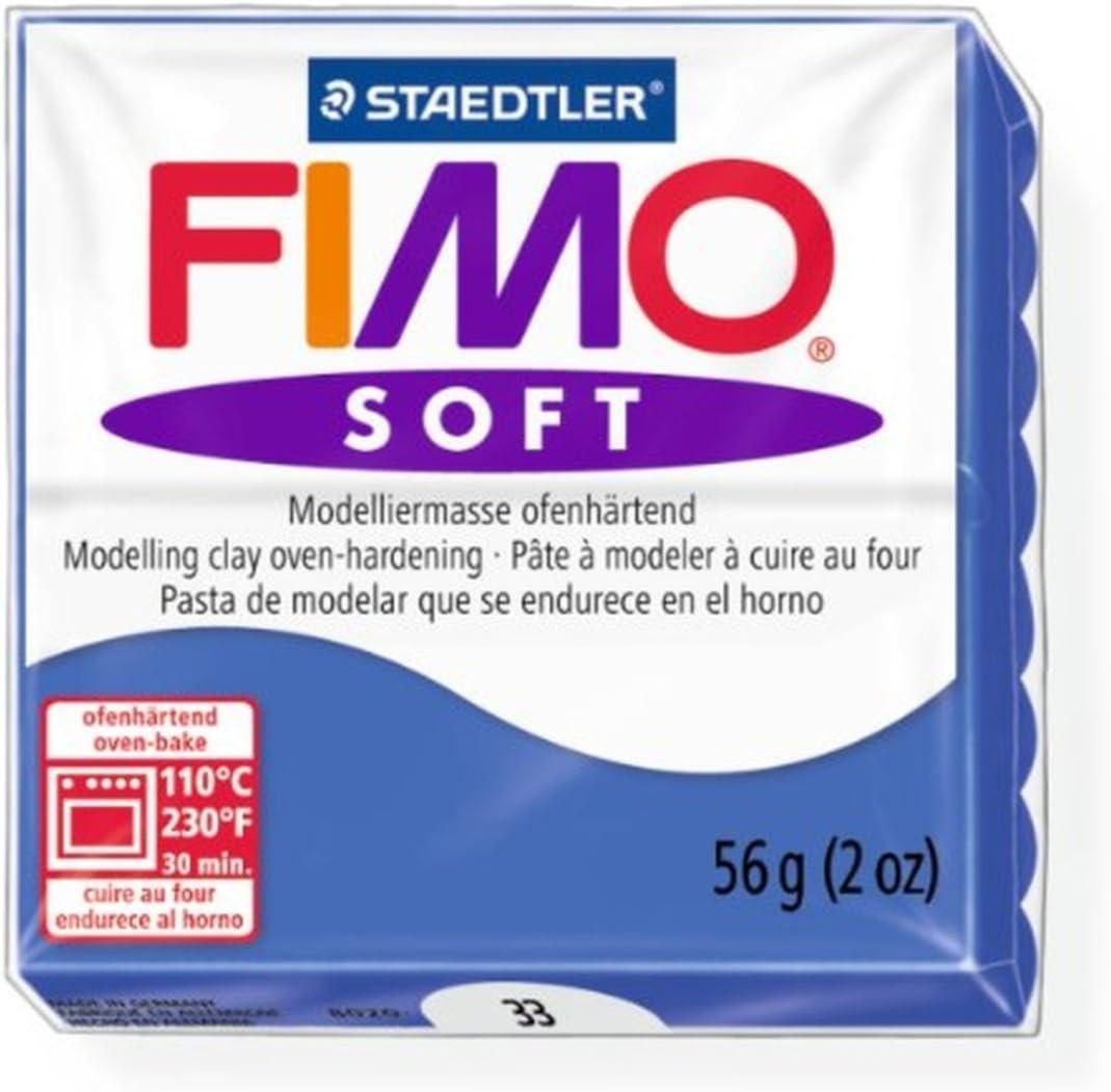 Blue 1 Confezione 33 Stampo per Pasta da Modellare Block 56/g Staedtler Fimo Soft Blu Brillante Forno