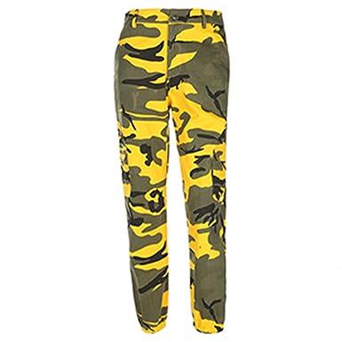 FJ-Direct Women Camouflage Casual Camo Sweatpant Camo Pants High Waist  Loose Trousers Yellow S 0293b855aa
