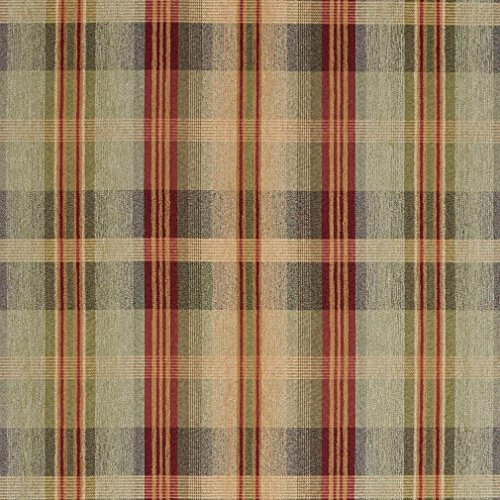 - F140 Green Blue and Red Plaid Chenille Upholstery Grade Fabric by The Yard