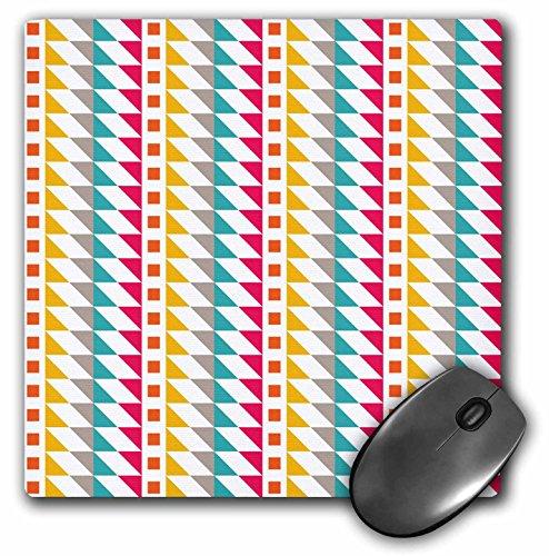 (3dRose Anne Marie Baugh - Patterns - Pink, Yellow, Aqua, and Orange Southwestern Triangle Pattern - Mousepad)