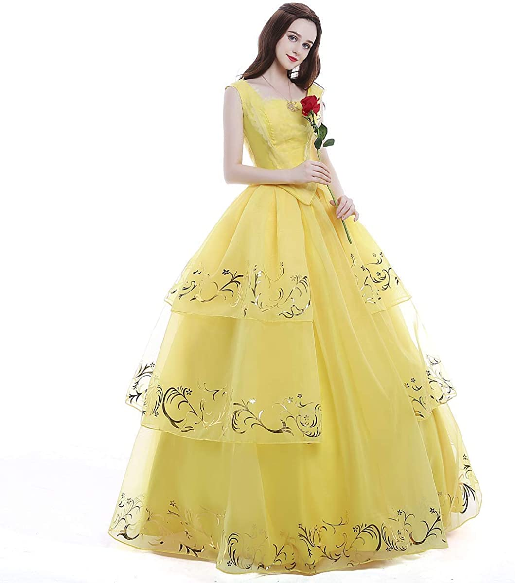 iCos Women Girl Princess Belle Dress Up Ball Gown Long Yellow Layered  Halloween Costume Adult