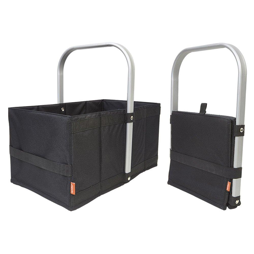 achilles Handle-Box, Einkaufskorb mit Cleverm Faltsystem, Faltkorb mit Aluminium Griff, Shopper schwarz, 40 cm x 24 cm x 20 cm AD253bl
