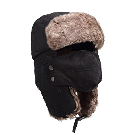 OneTigris Embroidered Winter Trapper Hat Warm Hunting Hat Ushanka Ear Flap  Chin Strap with Windproof Mask