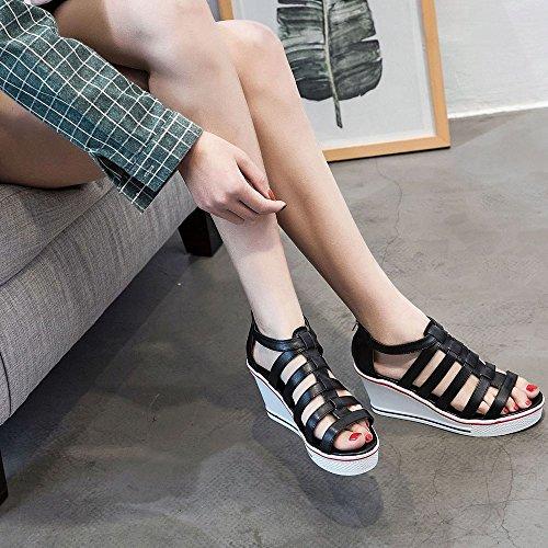 SSRSH Femme Sandales Peep Toe Cuir PU Plateformes Compensées Wedge Marche Talon Sandales Chaussures Baskets Confort fpqfB