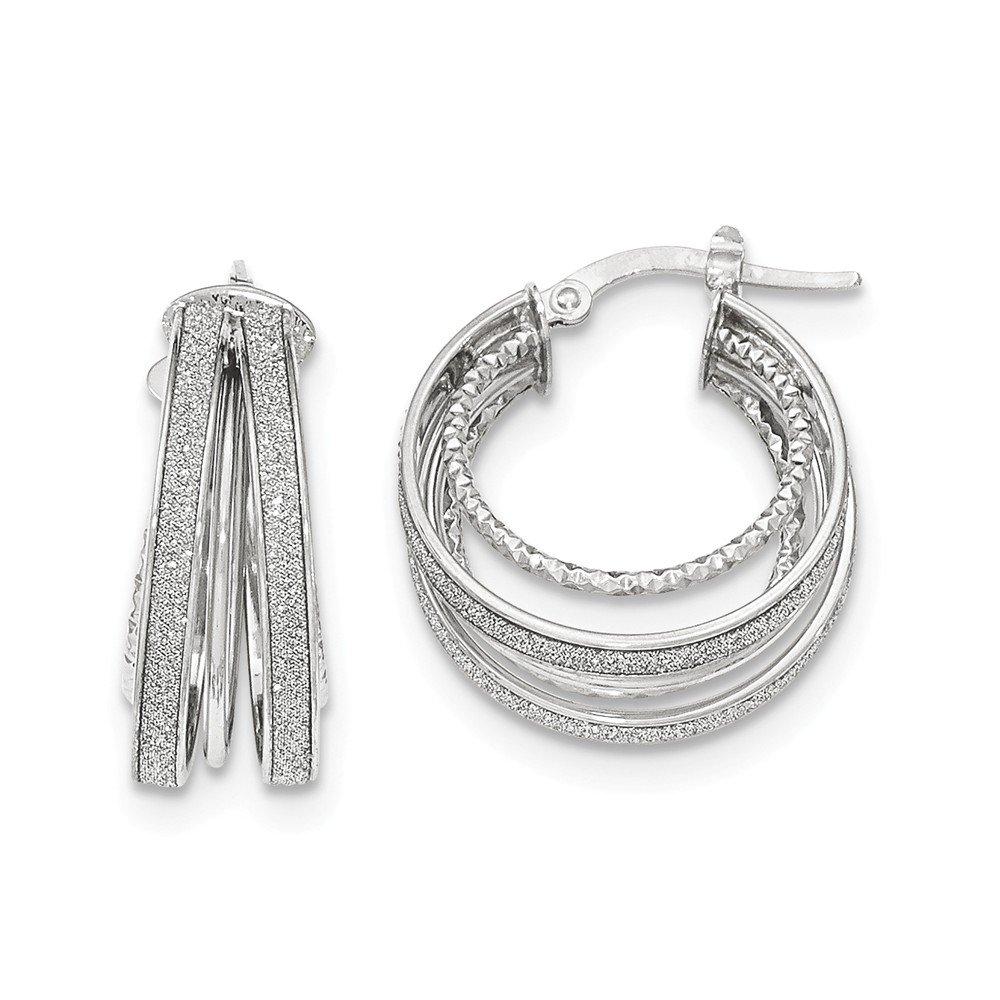 Mia Diamonds 14k White Gold Polished Glitter Infused Textured Hoop Earrings