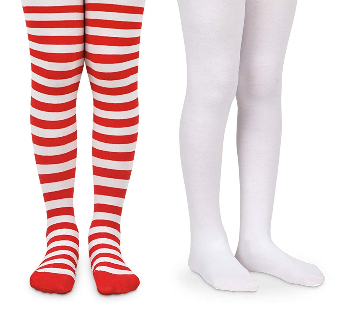 Jefferies Socks Girls Halloween Stripe Tight and Solid Nylon Tights 2 Pair Pack