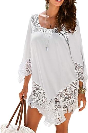 L-Peach Camiseta Pareo de Playa con Floral Encaje Bikini Cover Up para Mujer Talla única: Amazon.es: Ropa y accesorios