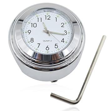 "bacai 7/8 ""1 Reloj De Manillar De Moto Esfera Blanca Cromado para"