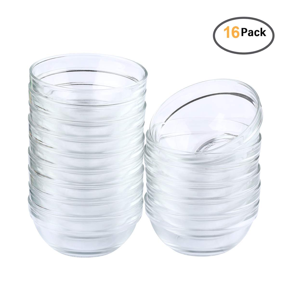 Maredash Mini Bowls 3.5 Inch Glass Bowls for Kitchen Prep, Dessert, Dips, and Candy Dishes,4oz Stackable Dishware safe,Set of 16 (combination)