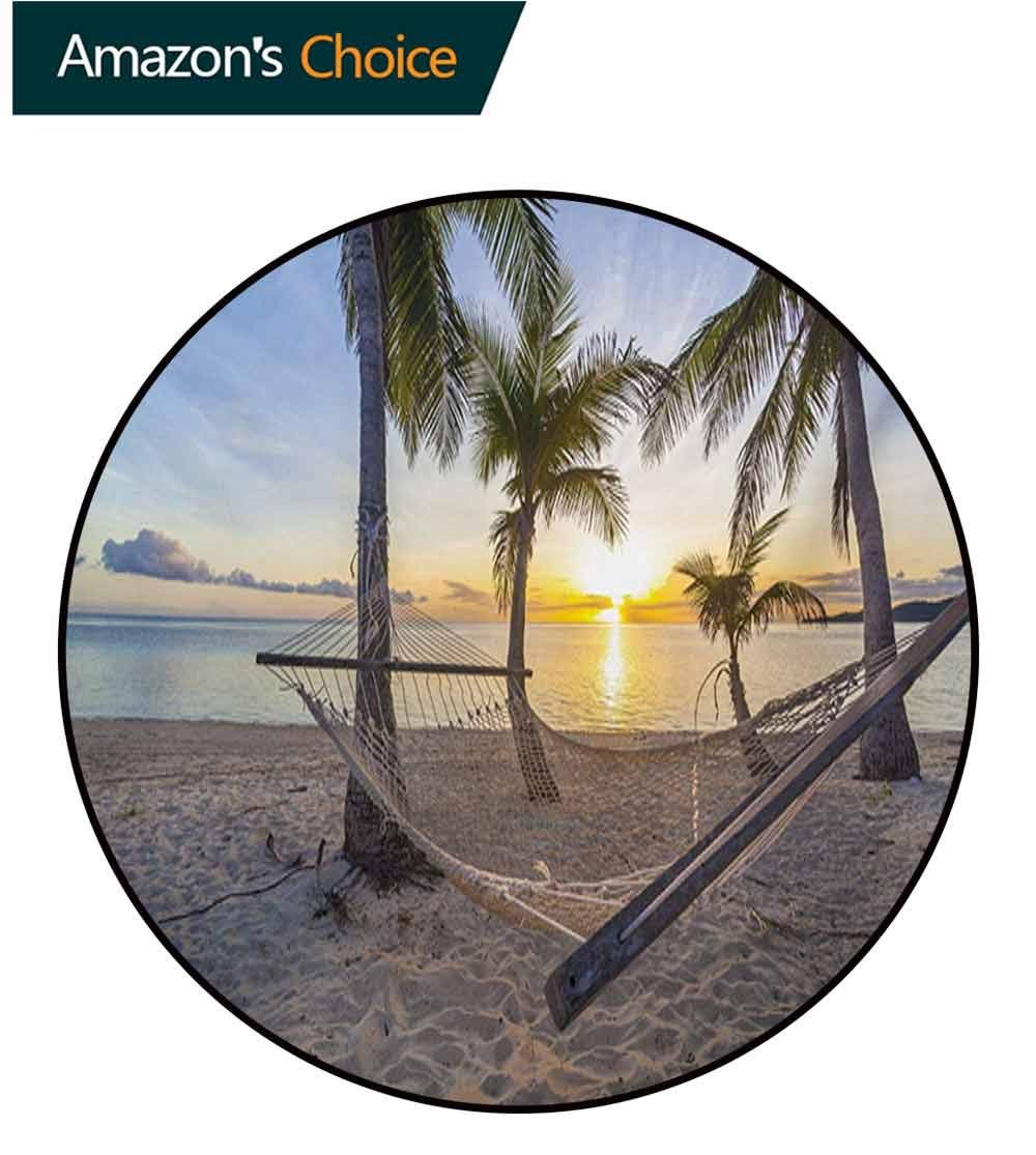 RUGSMAT Tropical Round Rug,Paradise Beach with Hammock and Coconut Palm Trees Horizon Coast Vacation Scenery Carpet Door Pad for Bedroom/Living Room/Balcony/Kitchen Mat,Diameter-71 Inch by RUGSMAT (Image #2)