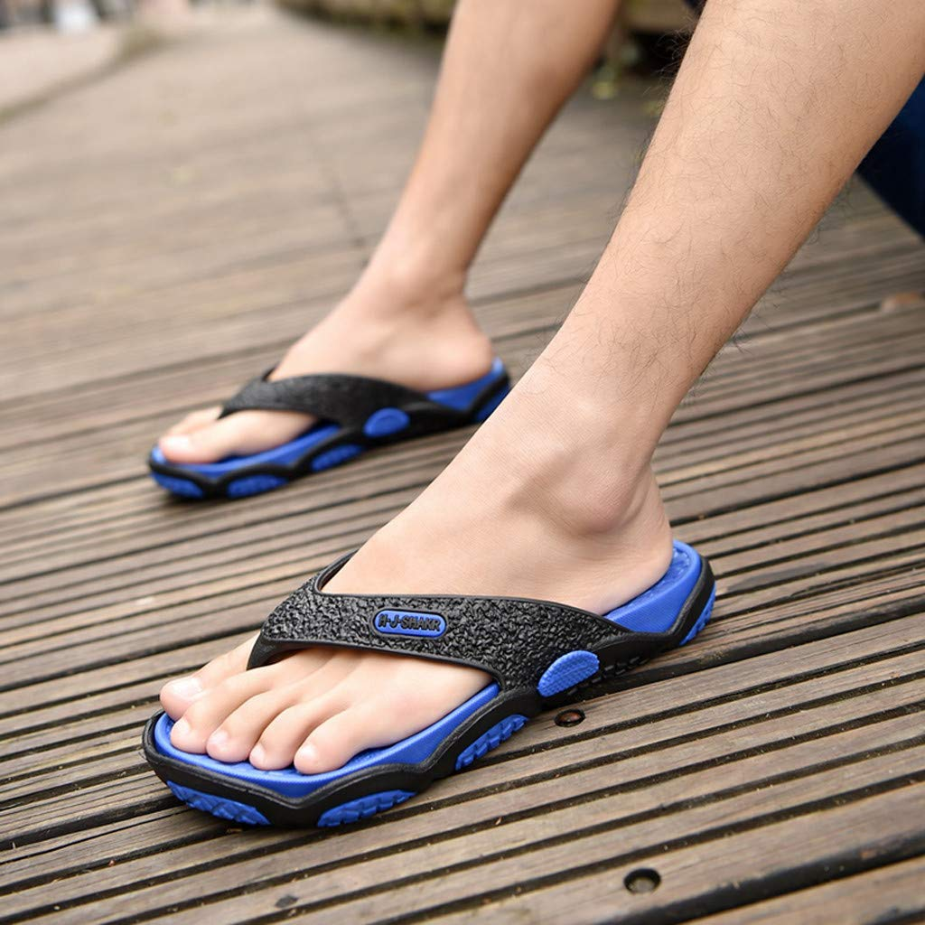 KESEELY Summer Men's Open Toe Slippers Fashion Beach Shoes Massage Bathroom Round Head Flip Flops Beach Casual Slippers Blue by KESEELY (Image #7)