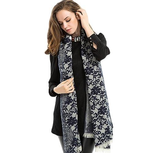 Donna Paisley Cashmere Feel Sciarpe Stole Scialli Wrap Con Fringe(Azzurro Blu)