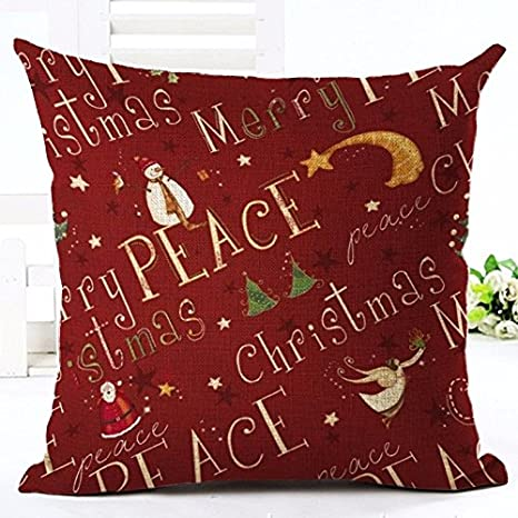 HandyCase Merry Christmas Letter Printing Style Christmas Gifts Christmas Tree Throw Pillow Pillowcase Sofa Home Decorative 18 x 18 Inches Best Christmas Wishes - Pattern 1