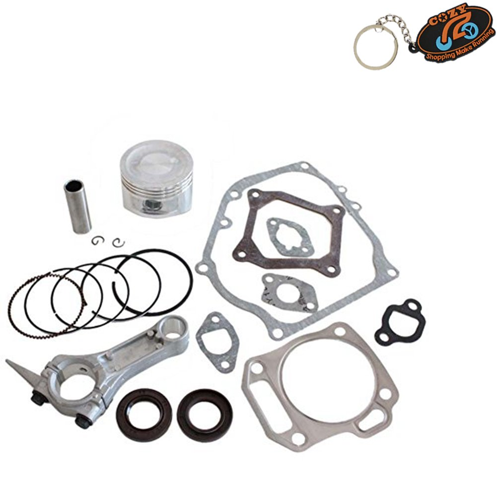 Cozy Pack of Piston Kits + Connecting Rod + Cylinder Head Muffler Intake Manifold Full Gaskets + Crankcase Oil Seal fit for Honda Gx160 5.5hp