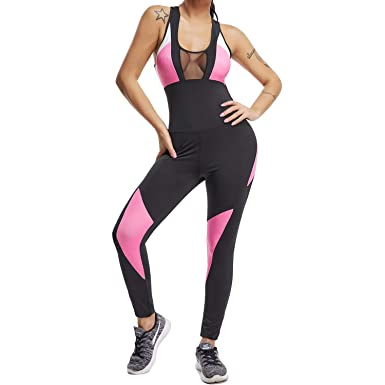 21dca20e5b9 Amazon.com  FITTOO Womens Sexy One Piece Fitness Bodysuit Backless Mesh  Patchwork Sleeveless Workout Jumpsuits  Clothing