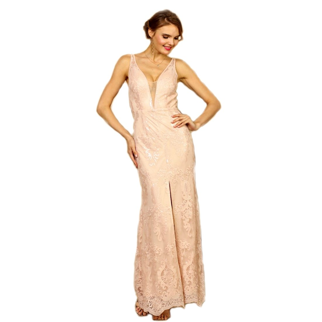 Crazy4Bling Soieblue Pale Pink and Nude Lace Yoke & Mesh Sleeveless Embroidery Detail Maxi Dress, Medium
