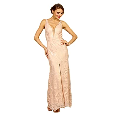 8402347c7 Image Unavailable. Image not available for. Color: Crazy4Bling Soieblu Pale  Pink and Nude Lace Yoke & Mesh Sleeveless Embroidery Detail Maxi Dress,