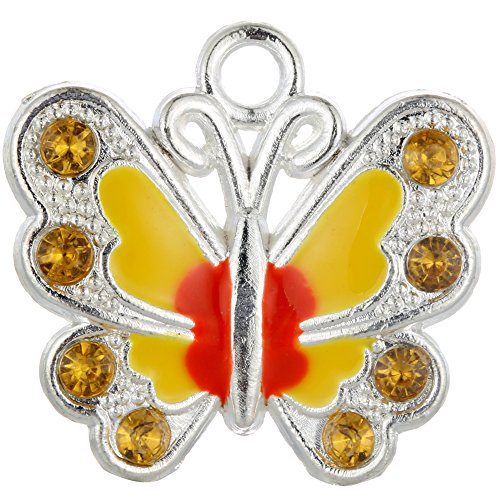 RUBYCA Silver Plated Small Butterfly Enamel Charm Beads Pendants for Jewelry Making DIY 14pcs Orange