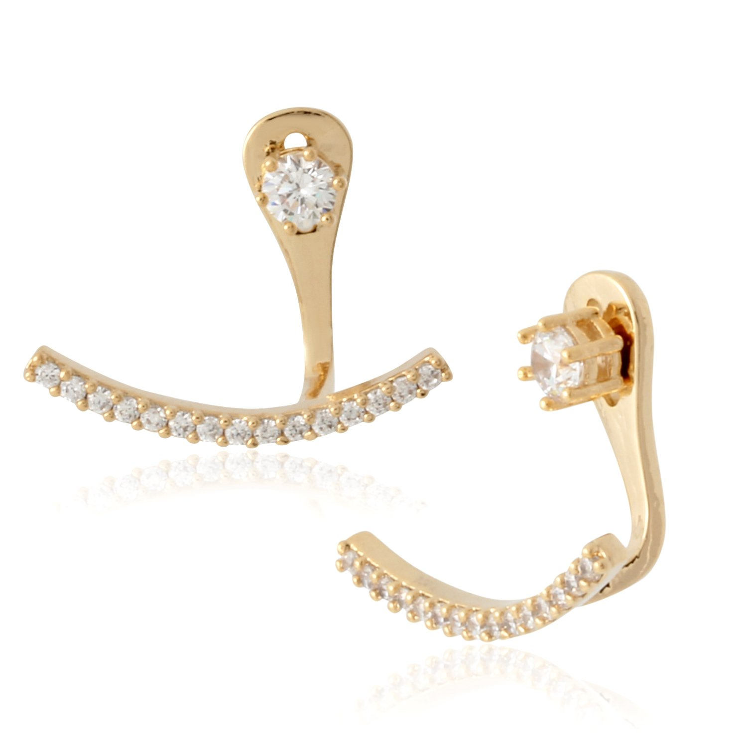Front Back 2 in 1 Round Cubic Zirconia AAA Quality Stud and Ear Jacket Cuff Earrings by Lovey Lovey (Gold)