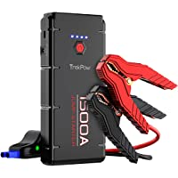 ABOX 1500A Peak Car Jump Starter Upgraded Portable Battery Booster with Smart Battery Clamps, QC3.0, Type-C Input&Output, LED Flashlight, for Engines up to 8.0L Gas and 6.5L Diesel