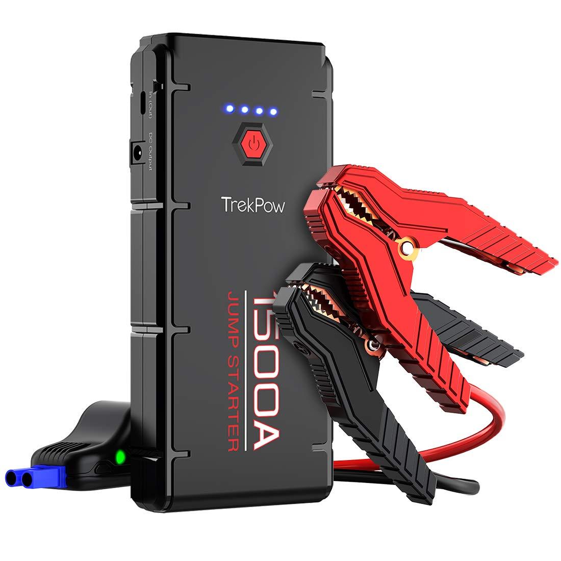 Typ C Auto-Batterie-Booster mit intelligentem kabel f/ür alle Benzin//6.5L Dieselmotoren TrekPow G22 Starthilfe Powerbank 1500A Spitze 3.GenerationmitQDSP DC-Ausgang LED-Taschenlampe