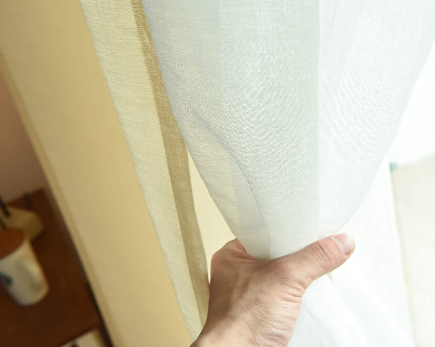 2 Pieces Suntown Home Decorations Grommet Champagne Sheer Curtain for Bedroom Window Panels//Treatment 97 inches Long for Living Room /& Girls Room