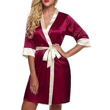 HaiDean Bata Mujer Bata De Seda De Baño Bata Albornoz Satén Corto Kimono Chemise Satén Modernas Casual Beige Rojo Oscuro Azul Marino XS: Amazon.es: Ropa y ...