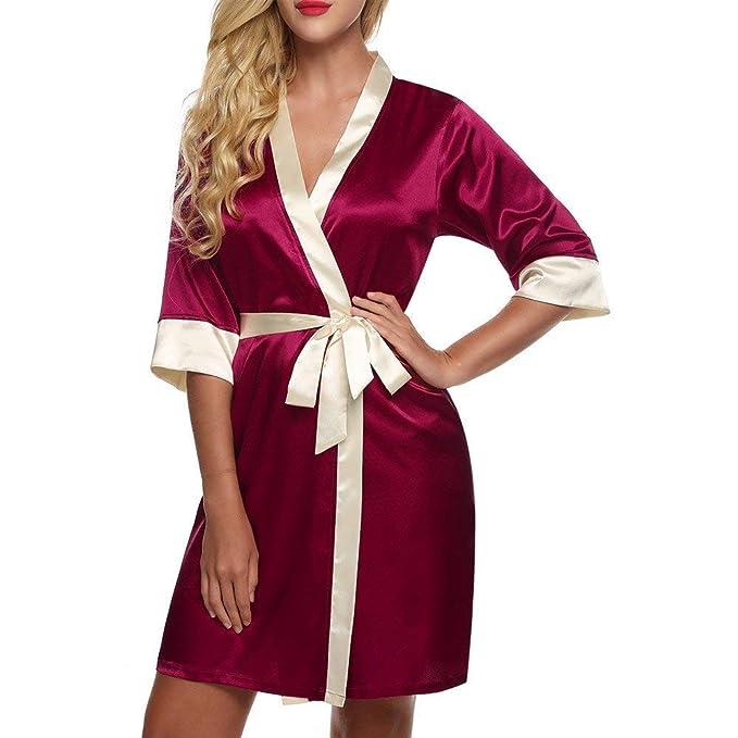 Saoye Fashion Bata Mujer Bata De Seda Bata De Baño Ropa Albornoz Satén Corto Kimono Chemise Satén Beige Rojo Oscuro Azul Marino XS: Amazon.es: Ropa y ...