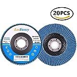 4.5 Inch 40/60/80/120 Grit Assorted Sanding Flap Discs by LotFancy, Zirconia Alumina Abrasive Grinding Wheel, Pack of 20, T27